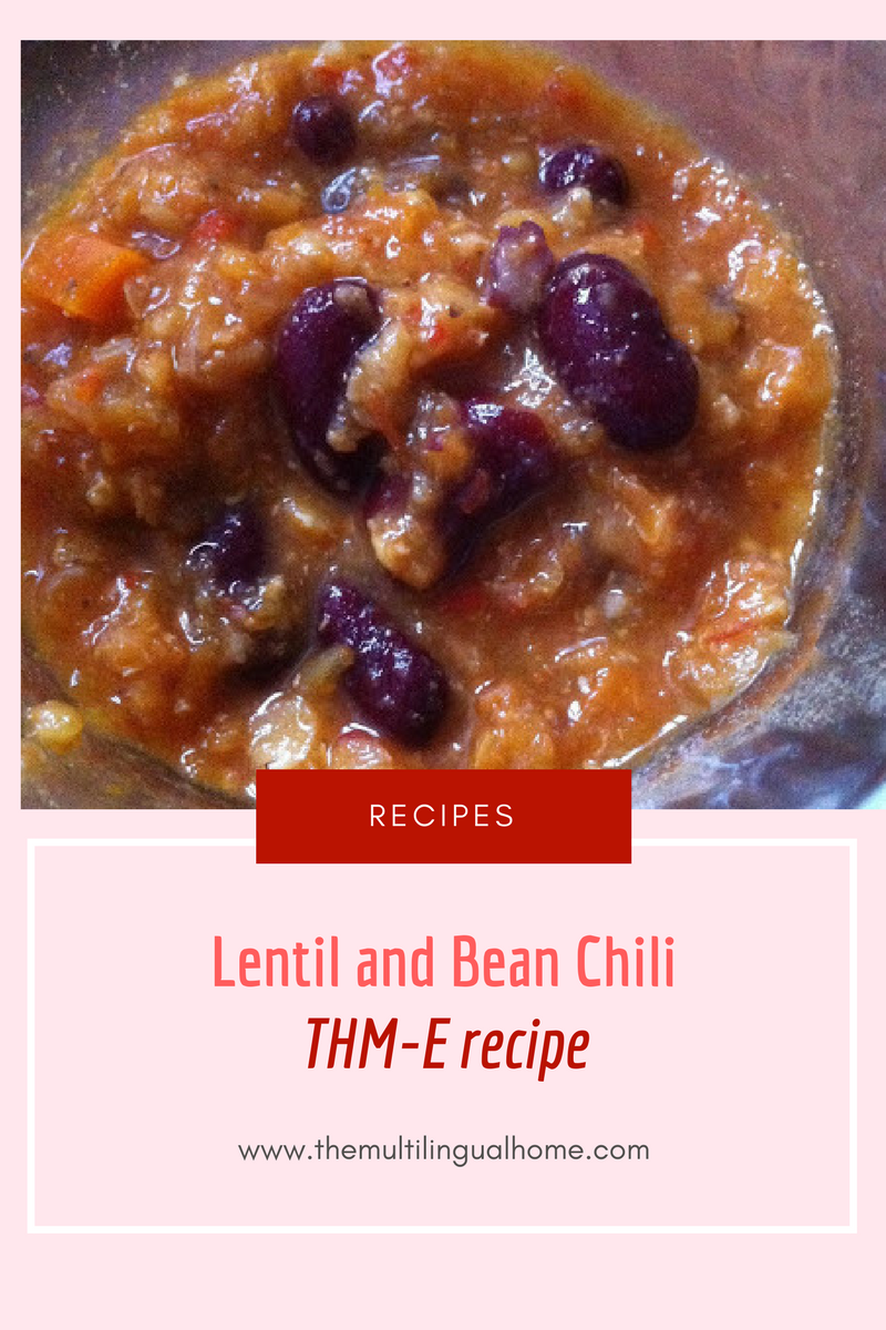Sunday Dinner : Lentil and Bean Chili thm food