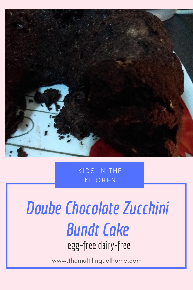 Kids in the Kitchen : Double Chocolate Zucchini Bundt Cake (egg-free / dairy-free) food
