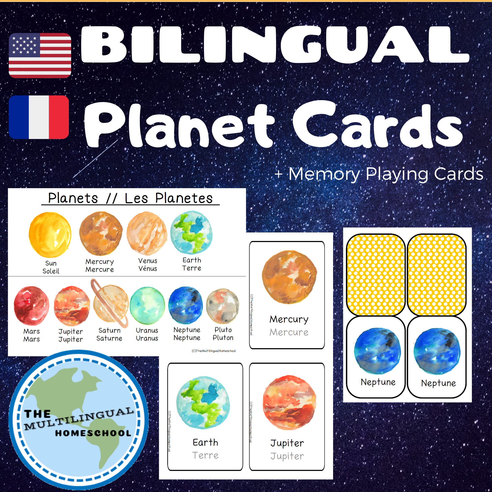 French English Planet Cards